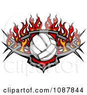 Clipart Volleyball Shield With Flames Royalty Free Vector Illustration