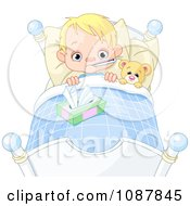 Sick Blond Boy Sweating With A Fever In Bed With A Teddy Bear
