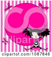 Clipart Punky Girl Sitting Over Pink Stripes With Butterflies And Circle Frame Royalty Free Vector Illustration