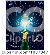 Clipart Cork Shooting Out Of A Champagne Bottle At New Years With Confetti On Blue Royalty Free Vector Illustration