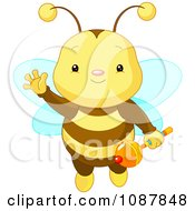 Clipart Cute Baby Bee Holding A Rattle And Waving Royalty Free Vector Illustration by Pushkin