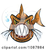 Clipart Orange Piranha Fish With Sharp Teeth Royalty Free Vector Illustration by Paulo Resende