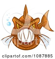Clipart Vicious Orange Piranha Fish With Sharp Teeth Royalty Free Vector Illustration by Paulo Resende