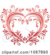 Clipart Heart Of Red Floral Vines Royalty Free Vector Illustration
