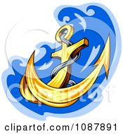 Clipart Sharp Gold Anchor And Blue Splash Royalty Free Vector Illustration