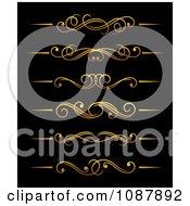 Clipart Golden Flourish Rule And Border Design Elements 3 Royalty Free Vector Illustration