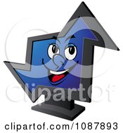 Clipart Smiling Computer Monitor In The Shape Of An Arrow Royalty Free Vector Illustration