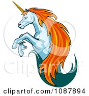 Clipart Leaping Unicorn With A Trail Of Teal Royalty Free Vector Illustration