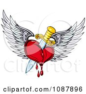 Clipart Bleeding Winged Heart Stabbed With A Dagger Royalty Free Vector Illustration
