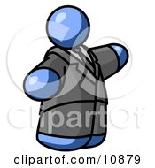 Blue Business Man In A Suit And Tie Clipart Illustration by Leo Blanchette
