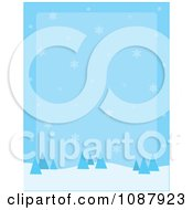 Clipart Blue Winter Background Of Snowflakes And Evergreen Trees Royalty Free Vector Illustration