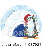 Clipart Christmas Penguin Decked Out In Lights By An Igloo In The Snow Royalty Free Vector Illustration
