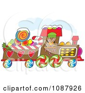Clipart Gingerbread Train Driver Waving And Passing By Royalty Free Vector Illustration by Maria Bell
