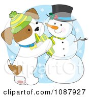 Clipart Winter Puppy Putting A Scarf On A Snowman Royalty Free Vector Illustration