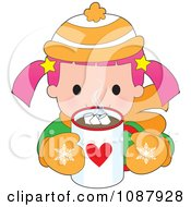 Clipart Winter Girl Drinking Hot Chocolate Royalty Free Vector Illustration