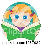 Blond Girl Smiling And Reading A Book