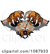 Clipart Attacking Tiger Mascot With Claws Royalty Free Vector Illustration