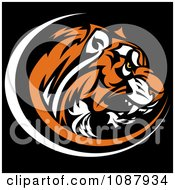 Clipart Aggressive Tiger Head Profile Mascot On Black Royalty Free Vector Illustration