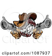 Clipart Baseball Cowboy Shooting With Two Pistols Royalty Free Vector Illustration by Chromaco