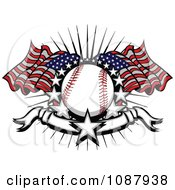 Baseball With American Flags Stars And A Banner