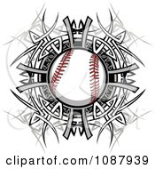 Clipart Baseball And Tribal Circle Royalty Free Vector Illustration by Chromaco