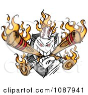 Clipart Home Baseball Plate With Flaming Crossed Bats And A Ball Royalty Free Vector Illustration