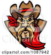 Clipart Tough Blond Cowboy Mascot With A Read Bandana Royalty Free Vector Illustration