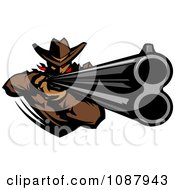 Western Cowboy Mascot Aiming A Rifle