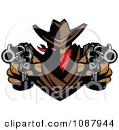 Clipart Western Cowboy Outlaw Pointing Two Pistols Royalty Free Vector Illustration by Chromaco