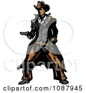 Clipart Western Gunslinger Cowboy Mascot Holding A Pistol Royalty Free Vector Illustration by Chromaco