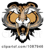 Clipart Roaring Puma Mountain Lion Head Mascot Royalty Free Vector Illustration by Chromaco