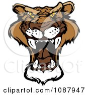 Clipart Roaring Mountain Lion Head Mascot Royalty Free Vector Illustration by Chromaco