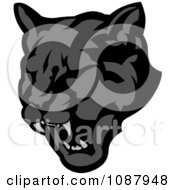 Clipart Roaring Black Panther Mascot Face Royalty Free Vector Illustration