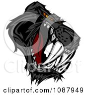 Clipart Aggressive Black Saber Toothed Or Panther Cat Mascot Royalty Free Vector Illustration