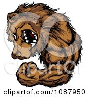 Clipart Strong Bear Mascot Flexing His Arm Royalty Free Vector Illustration