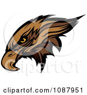 Clipart Mascot Brown Hawk Falcon Head Royalty Free Vector Illustration by Chromaco