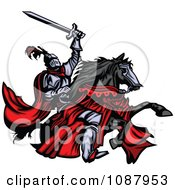 Clipart Medieval Knight Holding Up His Sword And Riding His Black Horse Royalty Free Vector Illustration by Chromaco