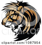 Clipart Vicious Male Lion Mascot Head Royalty Free Vector Illustration by Chromaco