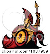 Spartan Warrior Mascot With A Cape Shield And Spear