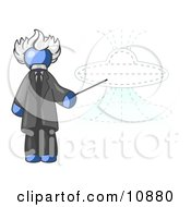 Blue Einstein Man Pointing A Stick At A Presentation Of A Flying Saucer Clipart Illustration