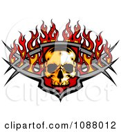 Fiery Skull And Metal Bars With Flames