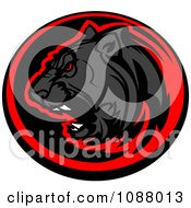 Clipart Roaring Black Panther Mascot In A Red And Black Circle Royalty Free Vector Illustration