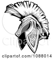 Clipart Black And White Spartan Trojan Helmet Royalty Free Vector Illustration by Chromaco