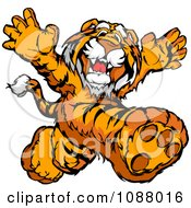 Clipart Happy Tiger Mascot Running Upright Royalty Free Vector Illustration