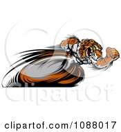 Clipart Fast Tiger Mascot Running Upright With Blurred Legs Royalty Free Vector Illustration