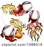 Clipart Fiery Baseballs With Flame Trails Royalty Free Vector Illustration