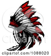Clipart Native American Indian Chief Feather Headdress Royalty Free Vector Illustration by Chromaco #COLLC1088020-0173