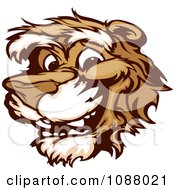 Clipart Smiling Cougar Mascot Face Royalty Free Vector Illustration by Chromaco