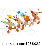 Clipart Ant Artists Carrying Art Supplies Royalty Free Vector Illustration by Alex Bannykh
