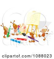 Clipart Ant Artists Working On A Strawberry Canvas Royalty Free Vector Illustration by Alex Bannykh